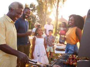 fire safety - family grilling out