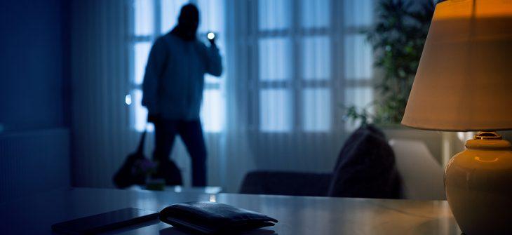 Burglar entering home to steal wallet.